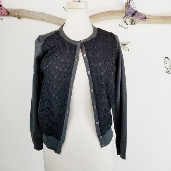 2d0cd67e490206 Vince Camuto Sweaters | Button Up Gray Cardigan Black Lace | Poshmark